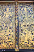 Traditional Thai style art gold painting pattern on the door — Foto Stock