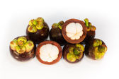 Asian tropical know as mangosteen fruit on white background — Stock Photo
