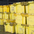 Stock Photo: Yellow packing boxes are prepared for wholesale fish market.