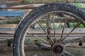 Old wheel of garbage cart — Foto de Stock