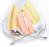 The Set of chiffon cake, strawberry, green tea and vanilla cake — Stock Photo