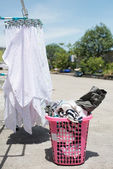 Dry the cloth diaper and adult cloth in the sun — Stock Photo