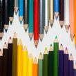 Close up of color pencils with different color over white backgr — Stock Photo #31056707