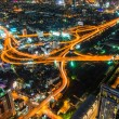 Bangkok Night Cityscape  Expressway and Highway, Top view of Ban — Stock Photo