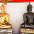 Stock Photo: Bueatiful buddhsculptures two different colors at Wat Po o