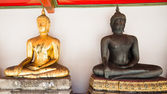The Bueatiful buddha sculptures two different colors at Wat Po o — Stock Photo
