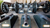 The group of historical old cannons in Thailand — Stock fotografie