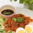 Stock Photo: Thai cuisine red pork over rice with boiled egg