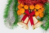 Christmas oranges and xmas decoration kits — Stock Photo