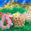 Christmas decorations and ornaments on green grass background — Stock Photo