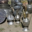 Different metal utensils  in a small market in Adygea village, south Russia — Stock Photo