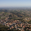 Bird eye view of San Marino, Panorama view from fortress — Stock Photo