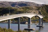 Bridge over the fjord, Sommaroy, Tromso county, Norway, landscap — Stock Photo