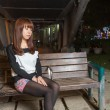 Sad AsiWomon Park Bench — Stock Photo #39061211
