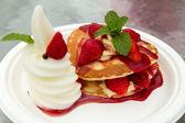 Strawberry Waffle with Ice-cream — Stock Photo