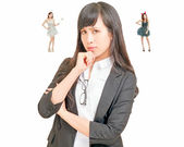 Asian woman making decision with angel and demon — Stock Photo