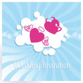 Wedding invitation with abstract hearts — Stock Vector