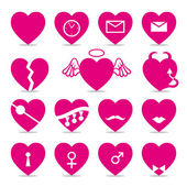 Set of 15 funny icons with hearts — Stock Vector