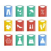 Ensemble de 12 icônes commerçantes — Vecteur