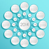 Metaball cyan calendar 2014 — Stock vektor