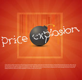 Vector black bomb with sale sticker — Stock Vector
