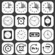 Stock Vector: Black clocks icon