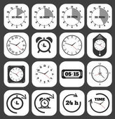 Black clocks icon — Stock Vector