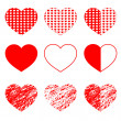 Hearts set for wedding and valentine design — Stock Vector