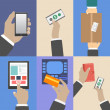 Set of business hands action concepts — Stock Vector #37796377
