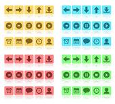 Media buttons flat set — Stock Vector