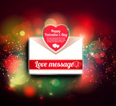 Valentine mail message with heart — Stock Vector