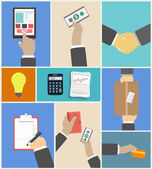 Set of business hands action concepts — Stock Vector