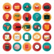 Web design objects, business, office and marketing items icons. — Vector de stock