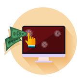 Pago por clic modelo de publicidad en internet cuando se hace clic en el anuncio — Vector de stock