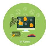 Pay per click internet advertising model — Stock Vector