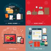 Business tools, interior, online, documents — Vector de stock