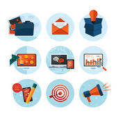 Business, office and marketing items icons. — Stockvector
