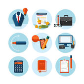 Business, office and marketing items icons. — Cтоковый вектор