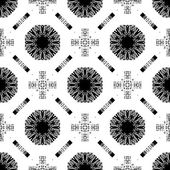 Seamless pattern with white tracery on a black — Stock Vector