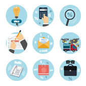 Business, office and marketing items icons. — 图库矢量图片