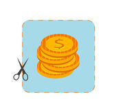 Icon of coupon cutout with money — Stock Vector