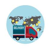 Delivery service 24 hours . Cargo truck symbol — Vector de stock