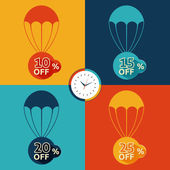 Discount parachute set — Stock Vector