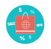 Icono de bolsa de papel. concepto del negocio — Vector de stock