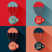 Discount parachute set — Vector de stock
