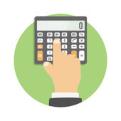 Calculator icon. Hand considers on the calculator — Stockvektor