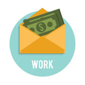 Money dollar bills in an open envelope — Stockvektor
