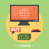 E-commerce infographic concept of purchasing — Stock Vector