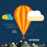Hot air balloon flying over the mountain — Stock Vector #45493219