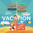 Icons set of traveling and planning a summer vacation — Stock Vector